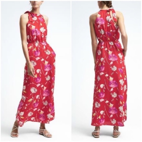 a8835decc Banana Republic Dresses | Floral Tie Neck Maxi Dress | Poshmark